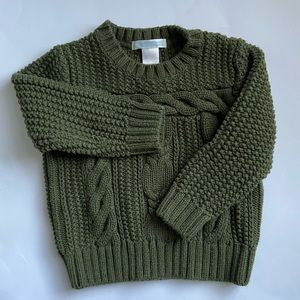 Janie and Jack Green Cable Knit Sweater